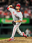 28 September 2010: Philadelphia Phillies' pitcher David Herndon on the mound against the Washington Nationals at Nationals Park in Washington, DC. The Nationals defeated the Phillies 2-1 on an Adam Dunn walk-off solo homer in the 9th inning to even up their 3-game series one game apiece. Mandatory Credit: Ed Wolfstein Photo