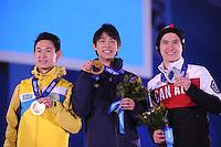 OLYMPICS: SOCHI: Medal Plaza, 15-02-2014, Figure Skating, Men's Free Skating, Dennis Ten (KAZ), Yuzuru Hanyu (JPN), Patrick Chan (CAN), ©photo Martin de Jong