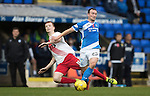 St Johnstone v Kilmarnock&hellip;15.10.16.. McDiarmid Park   SPFL<br />Chris Kane is brought down by Scott Boyd<br />Picture by Graeme Hart.<br />Copyright Perthshire Picture Agency<br />Tel: 01738 623350  Mobile: 07990 594431