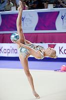 YANA KUDRYAVTSEVA of Russia performs with ball at 2016 European Championships at Holon, Israel on June 18, 2016.