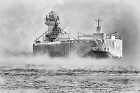 &quot;Ghostly Frozen Ship&quot;<br /> The Great Lakes Trader &amp; Joyce L. Van Enkevort emerged through the sea smoke wearing a heavy cloak of ice.  The air temperature hovered around -10&deg;F (-23&deg;C), and the water temperature was comparatively warmer. This combination creates sea smoke (or steam fog) which rises gracefully from the lake's surface. This is one of our favorite winter phenomena, and is welcome reward for braving the bitter temperatures and biting breeze.