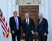 United States President-elect Donald Trump (L) and Vice President-elect Mike Pence (R) pose with General James N. Mattis, US Marine Corps, retired, (C) at the clubhouse of Trump International Golf Club, November 19, 2016 in Bedminster Township, New Jersey. Gen. Mattis is rumored to be a strong candidate for Secretary of Defense in the incoming Trump Administration.<br /> Credit: Aude Guerrucci / Pool via CNP