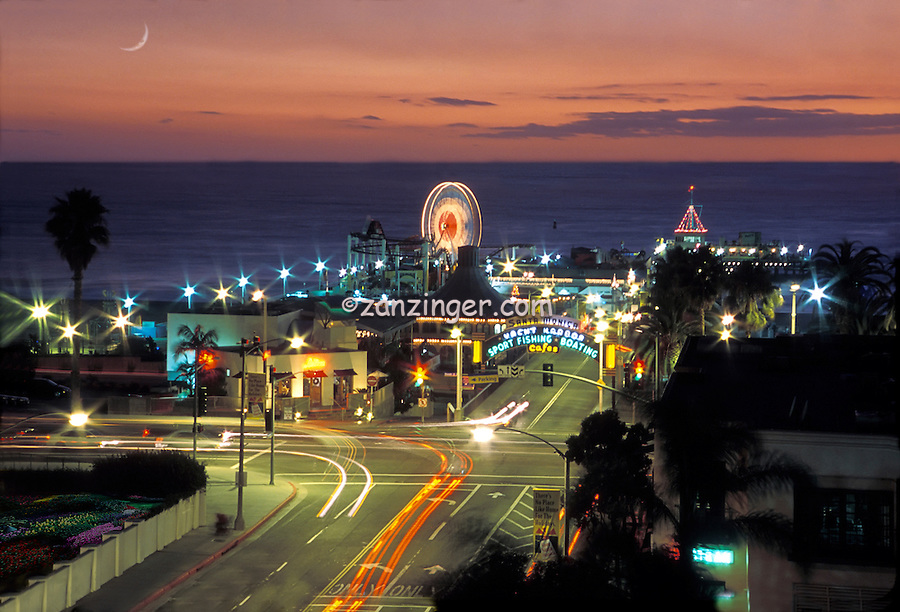 Santa Monica Pier, Sunset, Lights Streaking, Twilight, High dynamic range imaging (HDRI or HDR)