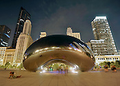 Cloud Gate, Anish Kapoor's stainless steel sculpture in Chicago's Millennium Park. Also known as the bean and probably the most photographed object in the city