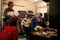 Los Angeles, Calif., April 26, 2009 - clockwise from lower left, Garrett Ray, Matt Popieluch, Lewis Nicolas Pesacov and Ariel Rechtshaid of the band Foreign Born in Rechtshaid's studio in the Echo Park section of Los Angeles.