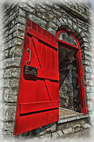 A view of the Toronto Gibraltar Point Lighthouse red door during Doors Open Toronto May 2014. Built in 1808, it is the second oldest lighthouse in Canada and the oldest on the Great Lakes.