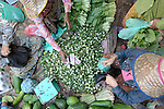 A woman sells vegetables in a market in the Cambodian village of Maung Rossey.
