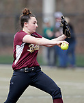Waterbury, CT- 20 April 2017-042017CM04- Sacred Heart's Maddie Gendron delivers a pitch during their softball matchup against Holy Cross on Thursday.  Holy Cross would go onto win, 7-0.   Christopher Massa Republican-American