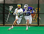 10 April 2007: University of Vermont Catamounts' Brandon Goodwyn, a Sophomore from Bethesda, MD, battles Kyle Gwyn-Williams, a Senior from Shrewsbury, NJ, of the Holy Cross Crusaders at Moulton Winder Field, in Burlington, Vermont. The Crusaders rallied to defeat the Catamounts 5-4...Mandatory Photo Credit: Ed Wolfstein Photo