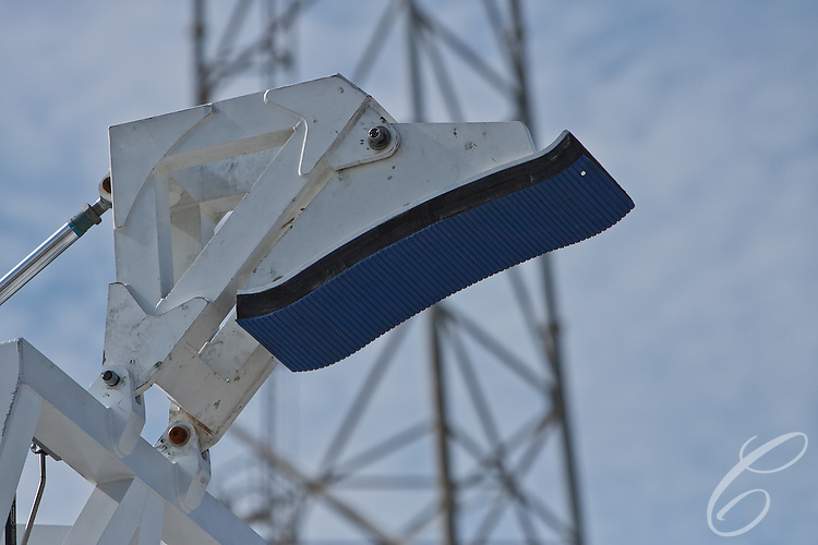 A clamp designed to hold SpaceX's Falcon 9 rocket atop the support structure at SpaceX's Launch Complex 40   at  Cape Canaveral, Florida.