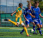 28 September 2013: University of Vermont Catamount Forward Brian Wright, a Freshman from Ajax, Ontario, in action against the Hartwick College Hawks at Virtue Field in Burlington, Vermont. The Catamounts shut out the visiting Hawks 1-0. Mandatory Credit: Ed Wolfstein Photo *** RAW (NEF) Image File Available ***