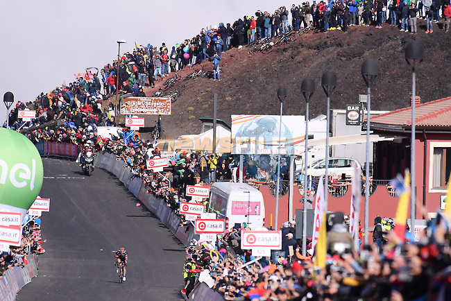 Jan Polanc (SLO) UAE Team Emirates approaches the finish line on the slopes of Mount Etna during Stage 4 of the 100th edition of the Giro d'Italia 2017, running 181km from Cefalu to Mount Etna, Sicily, Italy. 9th May 2017.<br /> Picture: LaPresse/Gian Mattia D'Alberto   Cyclefile<br /> <br /> <br /> All photos usage must carry mandatory copyright credit (&copy; Cyclefile   LaPresse/Gian Mattia D'Alberto)