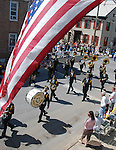 Photo by Phil Grout..The Westminster Municipal Band makes the turn on Church St..as the annual Memorial Day Parade rolls marches by spectators.lining both sides of the streets.