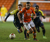Blackpool's Colin Daniel gets away from Stevenage's Fraser Franks and Kaylen Hinds<br /> <br /> Photographer Alex Dodd/CameraSport<br /> <br /> The EFL Sky Bet League Two - Blackpool v Stevenage - Tuesday 14th March 2017 - Bloomfield Road - Blackpool<br /> <br /> World Copyright &copy; 2017 CameraSport. All rights reserved. 43 Linden Ave. Countesthorpe. Leicester. England. LE8 5PG - Tel: +44 (0) 116 277 4147 - admin@camerasport.com - www.camerasport.com