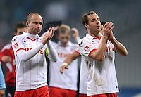 Fussball 2. Bundesliga:  Saison   2012/2013,    14. Spieltag  TSV 1860 Muenchen - 1. FC Koeln  16.11.2012 Jubel nach dem Sieg Miso Brecko und Matthias Lehmann (v. li., 1. FC Koeln)