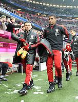 FUSSBALL   1. BUNDESLIGA  SAISON 2011/2012   19. Spieltag FC Bayern Muenchen - VfL Wolfsburg      28.01.2012 Danijel Pranjic (li.) mit Breno  (FC Bayern Muenchen)