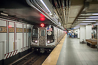"The Canarsie Line ""L"" train arrives at its Eighth Avenue terminal in New York on Monday, July 25, 2016. Because of salt water damage to the Canarsie tunnel from Hurricane Sandy the MTA will close the line down in Manhattan for 18 months affecting hundreds of thousands of commuters. Trains will end at Bedford Avenue and the shutdown will start in 2019. ( © Richard B. Levine)"