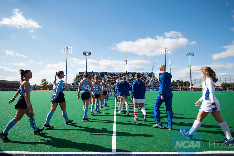NORFOLK, VA - NOVEMBER 20:  The University of Delaware and the University of North Carolina take the field during the Division I Women's Field Hockey Championship held at the LR Hill Sports Complex on November 20, 2016 in Norfolk, Virginia.  Delaware defeated North Carolina 3-2 for the national title. (Photo by Jamie Schwaberow/NCAA Photos via Getty Images)