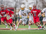 18 April 2015:  University of Vermont Catamount Defender Ben Cox (13), a Sophomore from Medfield, MA, leads a midfield rush against the University of Hartford Hawks at Virtue Field in Burlington, Vermont. The Cats defeated the Hawks 14-11 in the final home game of the 2015 season. Mandatory Credit: Ed Wolfstein Photo *** RAW (NEF) Image File Available ***