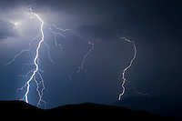 Lightning at night over Rattlesnake Mountain in Northwest Wyoming