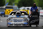 Jun. 19, 2011; Bristol, TN, USA: NHRA pro stock driver Allen Johnson during eliminations at the Thunder Valley Nationals at Bristol Dragway. Mandatory Credit: Mark J. Rebilas-