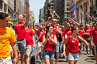Marchers from Delta Airlines in the 43rd annual Lesbian, Gay, Bisexual and Transgender Pride Parade on Fifth Avenue in New York on Sunday, June 24, 2012. The parade took place on the one year anniversary of the legalization of gay marriage in New York.  (© Richard B. Levine)