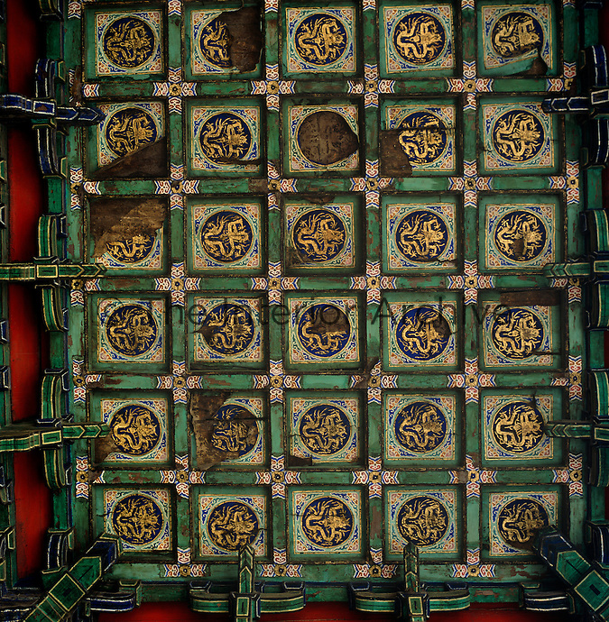 Detail of the coffered painted wooden ceiling of the Confucius Temple in Beijing