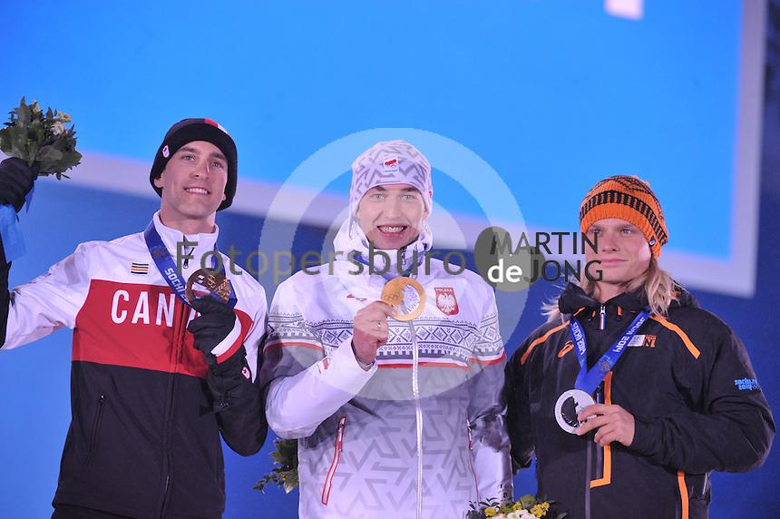OLYMPICS: SOCHI: Medal Plaza, 16-02-2014, Men's 1500m, Denny Morrison (CAN), Zbigniew Brodka (POL), Koen Verweij (NED), ©photo Martin de Jong