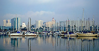 Sailing, Southern California, Long Beach Marina,  Long Beach, CA, USA, Sailboats Reflections on Water, Motor Boating, Power Yachts,