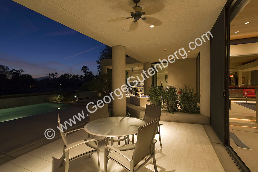 stock photo of patio overlooking pool at night | Stock ...