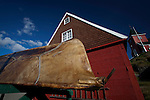 An umiaq, or womens boat, made with walrus or seal skin, near the museum in Sisimiut, the second largest town in Greenland