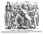 """""""Rowdy"""" Notions of Emancipation. """"The mob on the corner, below my house, had hung up a negro to the lamp-post. In mockery, a cigar was placed in his mouth. For hours these scared negroes poured up twenty-seven street, passing my house. One old negro, 70 years old, blind as a bat, and such a cripple that he could hardly move, was led along by his equally aged wife with a few rags they had saved, trembling with fright, and not knowing where to go.""""—Manhattan's letter in the Standard, July 30th."""