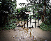 Many villagers take on the responsibility to guard the gate leading to their village Dingkhia in Orissa, India. These villagers have formed an agitating group, &quot;Posco Pratirdh Sangram Samiti&quot; to oppose the construction of Posco port in their village.