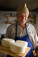 Antholz,  South Tyrol, June 2007. Farmer Schorsch Senner on Grente Alm makes his own cheese and plays his trombone without disturbing the neighbours. The Valley of Antholz is surrounded by mountains of over 3000 meters. South Tyrol used to be part of Austria until it became part of Italy after WWI. Photo by Frits Meyst/Adenture4ever.com