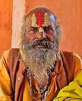 Sadhu at the Rameshwar Village and Hindu Temple 15 km from Varanasi, India