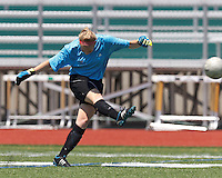 CFC Passion goalkeeper Britt Moore (17). In a Women's Premier Soccer League (WPSL) match, Aztec MA defeated CFC Passion, 4-0, at North Reading High School Stadium on July 1, 2012.