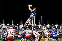 Stuart Hooper of Bath Rugby wins the ball at a lineout. Aviva Premiership match, between Bath Rugby and Gloucester Rugby on February 5, 2016 at the Recreation Ground in Bath, England. Photo by: Patrick Khachfe / Onside Images