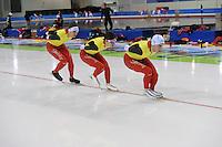 SCHAATSEN: SALT LAKE CITY: Utah Olympic Oval, 12-11-2013, Essent ISU World Cup, training, Ferre Spruyt (BEL), Maarten Swings (BEL), Wannes van Praet (BEL), ©foto Martin de Jong