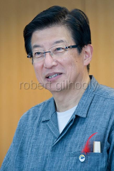 Shizuoka Gov. Heita Kawakatsu speaks at the prefectural offices in in Shizuoka Prefecture Japan on 01 Oct. 2012.  Photographer: Robert Gilhooly