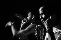 Members of Los Aldeanos, an underground Rap Cubano music group, perform during a private concert held in Nuevo Vedado, Havana, Cuba, 9 February 2009.