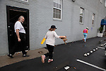 Joseph Hall, left, and his daughters Christina, 11, and Marylynne, 13, get ready to leave the Christian Homeless Shelter in London, KY, for their new home.