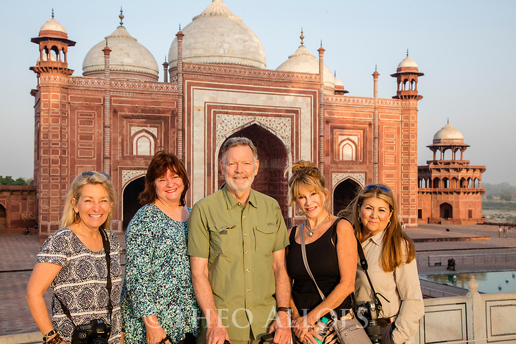 India, Agra, Focus Expeditions group in front of the mosque at the Taj Mahal,