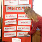 HARTFORD, CT-- 02 JANUARY 2008--010208JS02-Secretary of the State Susan Bysiewicz, places the names of Republican candidates in the order they will appear on the ballot during the state presidential primary on February 5th. The order of the candidates, both Democratic and Republican, was determined by a drawing in the Secretary of State's office at the State Capitol in Hartford on Wednesday.<br /> Jim Shannon/Republican-American