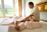 Bad Kleinkirchheim, Nockberge National Park, Kaernten, Carinthia, Austria, June 2009. A thai massage in the spa of Hotel Ronacher, loosens up the tired muscles. The ancient Nock mountains of southern Austria offer great hiking possibilities. Photo by Frits Meyst/Adventure4ever.com