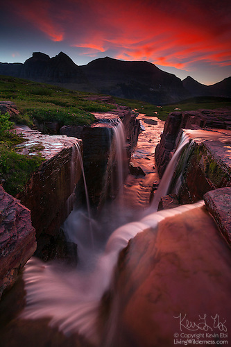 Waterfalls Near the Continental Divide, Glacier National Park, Montana