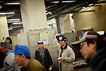1st of March 2010 - Tuna at Tsukiji wholesale fish market, biggest fish market in the world. 5:35 a.m, auctions for the frozen tunas. A middleman bidding.
