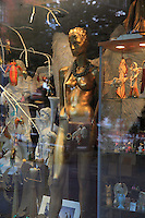 Window display with angels in a vintage shop  on Am Nussbaum Strasse, Mitte, Berlin, Germany. Picture by Manuel Cohen