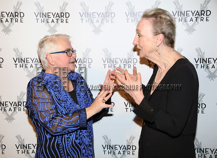 Paula Vogel and Kathleen Chalfant attends the cocktail party for the Vineyard Theatre 2016 Gala at the Edison Ballroom on March 14, 2016 in New York City.