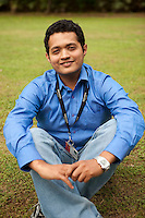"Sharadh Manjittaya, 25.25-year-old Sharadh Manjittaya is a Bangalorian who always wanted to work for MindTree. ""There is a hype associated with MindTree in college, they have a reputation and the best aspire to work for them,""says Sharadh who couldn't find a job during the campus recruitment, he worked for two years and a half and waited for the right job posting... and finally got a job at MindTree. ""I had read Shubroto Baghchi's book (The Professional) and was very ispired,"" he says and adds, ""...this is one place I aspired to work, and here I am - working with the professionals"" adds Sharadh. .Trained as an electronics engineer, Sharadh found it easy to fit into the MindTree Getonics work culture. He handles LINUS server, and his role is to learn new technology from the team, document the same and teach the same to his colleagues.  ""Learning and teaching has become a major job role for me, and am enjoying it,"" says Sharadh..Sharadh is a singer. He started singing when he was a young boy, even attended Indian Classical Music classes but couldn't continue with it regularly. Sharadh sang Kannada song, Mungaru Maley (first monsoon rain) and won the first prize at the Music contest.  ..KPN company, Getronics, has off shored multiple business units to the Indian company, Mind Tree in Bangalore, the 'Silicon Valley of India', in the state of Karnataka, India. .Photo by Suzanne Lee for Hollandse Hoogte."