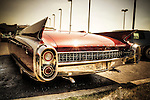 Cadillac Eldorado red convertible classic USA car from the 1960's with huge fins and chrome